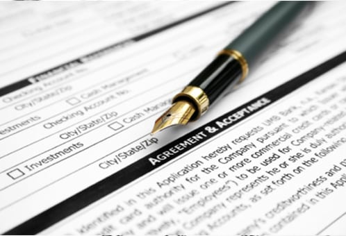 Legal documents and pen